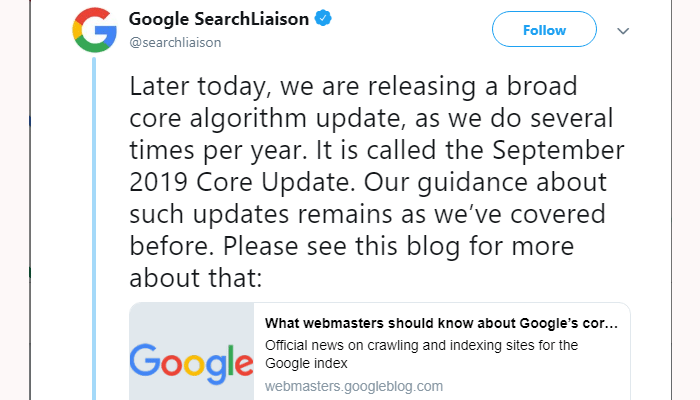 What are the new changes in SEO September 2019