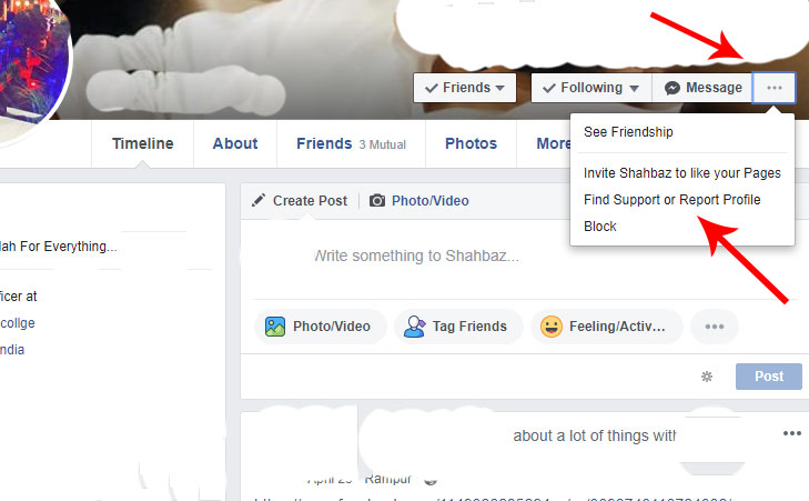 How to report a facebook profile