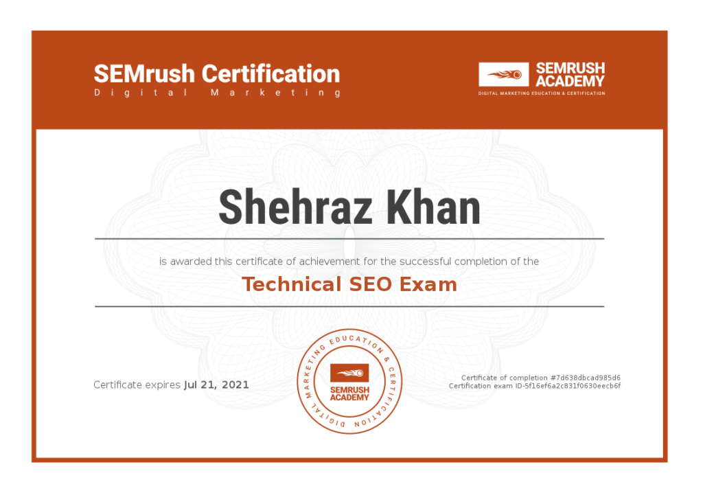 Shehraz Khan Technical SEO SEMRush